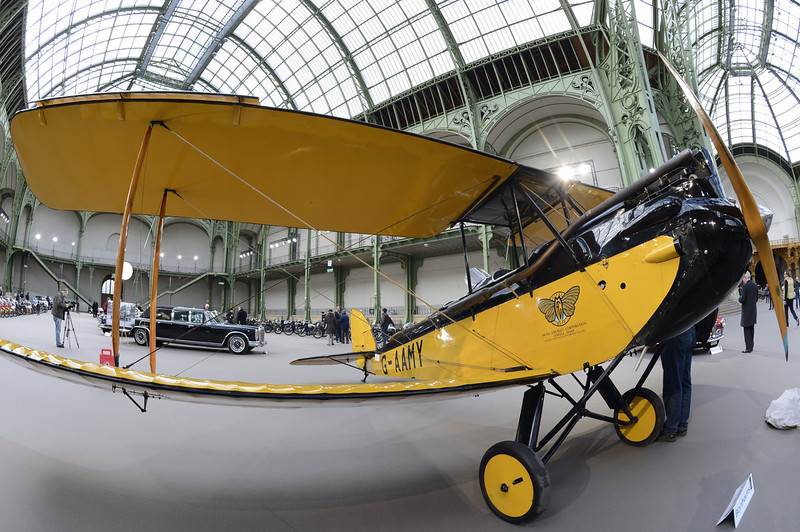 . A plane Gipsy moth de Havilland (1929) is pictured as luxury vintages cars are displayed at an auction at the Grand Palais on February 6, 2013 in Paris. 125 vintage motor cars, 100 collection motorbikes and a 1920\'s Gipsy Moth plane by De Havilland, will be presented at the Bonhams auction on February 7.  BERTRAND GUAY/AFP/Getty Images