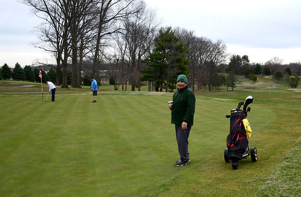 3/28/2020 Mike Orazzi | Staff George Clarke, Paul Magnano and Mike Capsalors while golfing at Stanley Golf Course in New Britain on Saturday.
