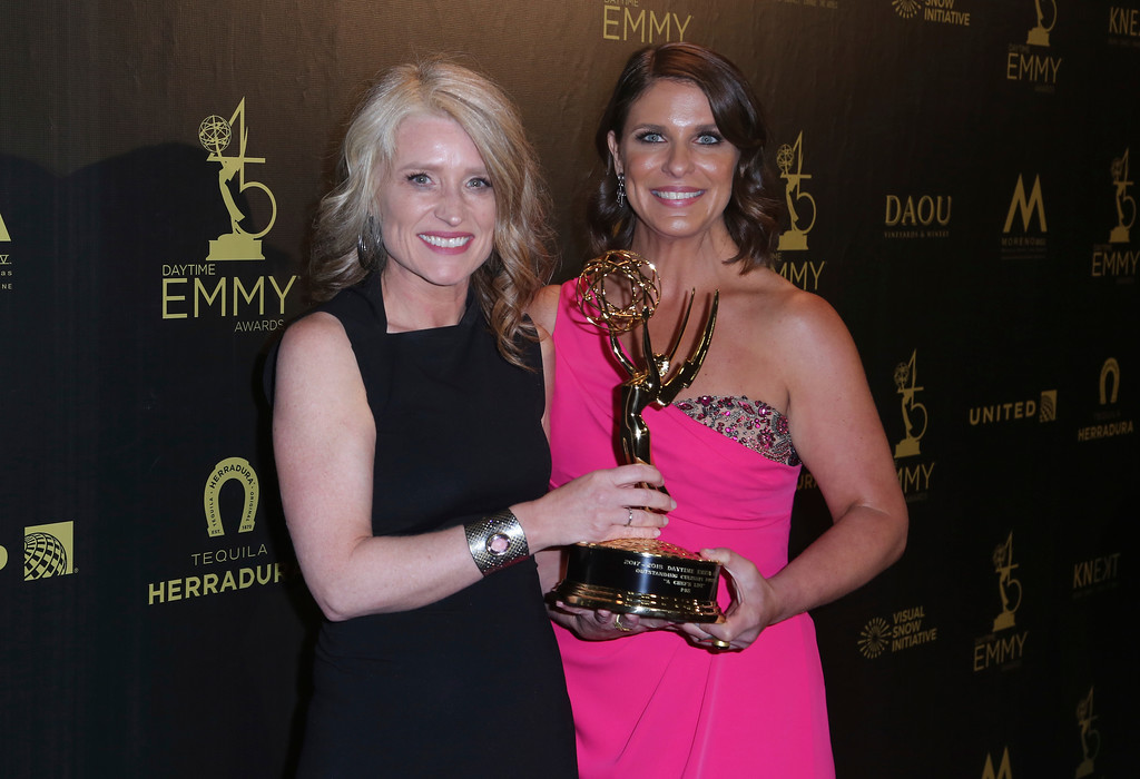 ". Cynthia Hill, left, and Vivian Howard pose in the press room with the award for outstanding culinary program for ""A Chef\'s Life\"" at the 45th annual Daytime Emmy Awards at the Pasadena Civic Center on Sunday, April 29, 2018, in Pasadena, Calif. (Photo by Willy Sanjuan/Invision/AP)"