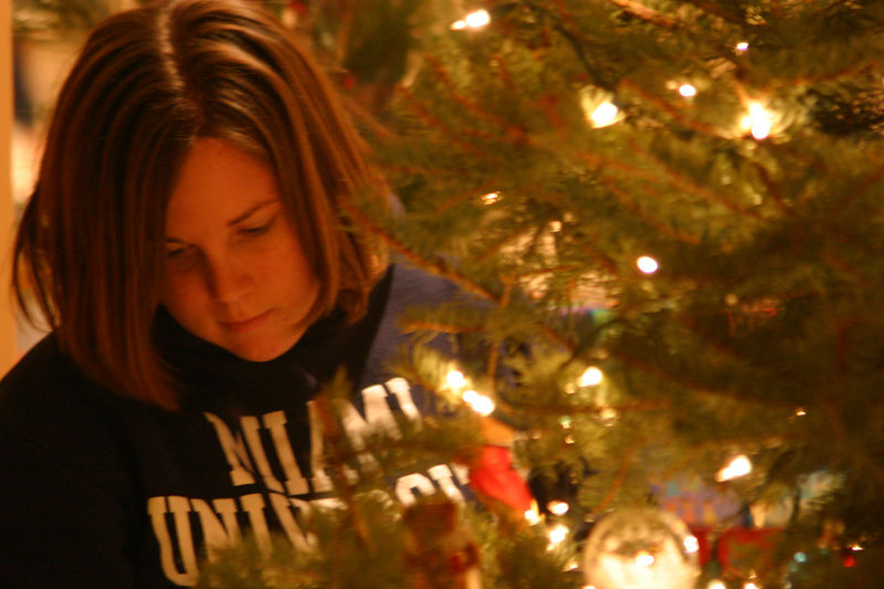 Elizabeth, one of Rich's stepdaughter decorating the Christmas tree