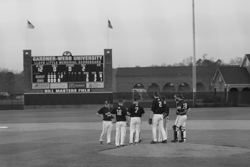 A pitching change commences as the 'Dogs trail 3-0 in the fifth inning on Friday, March 18th, 2011.