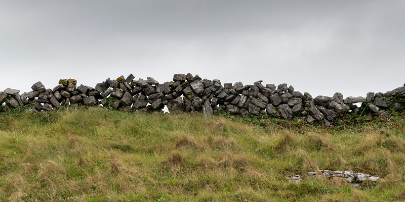 View of stone wall, Dun Aengus, Inishmore, Aran Islands, County Galway, Ireland