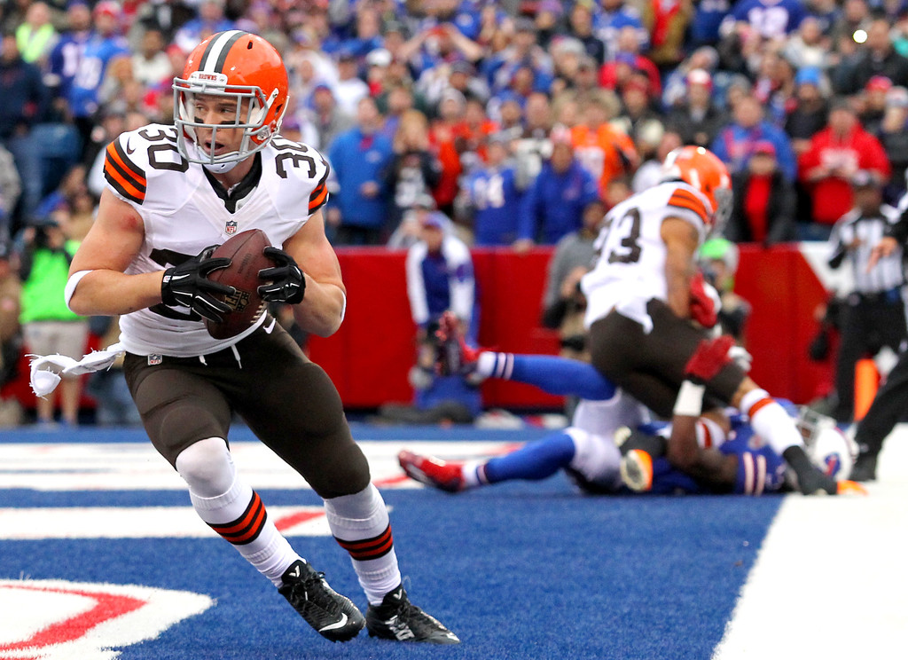 . Cleveland Browns defensive back Jim Leonhard intercepts a pass from Buffalo Bills quarterback Kyle Orton during the first half of an NFL football game, Sunday, Nov. 30, 2014, in Orchard Park, N.Y. (AP Photo/Bill Wippert)