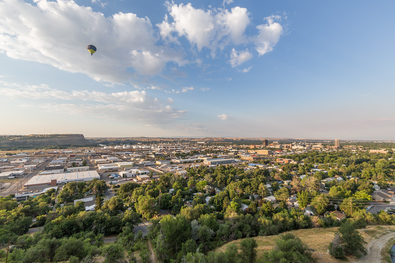 Hot air balloon over Downtown Billings