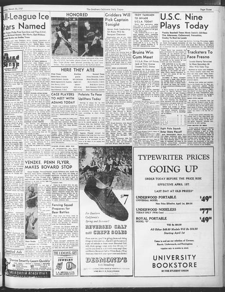 Daily Trojan, Vol. 28, No. 104, March 30, 1937