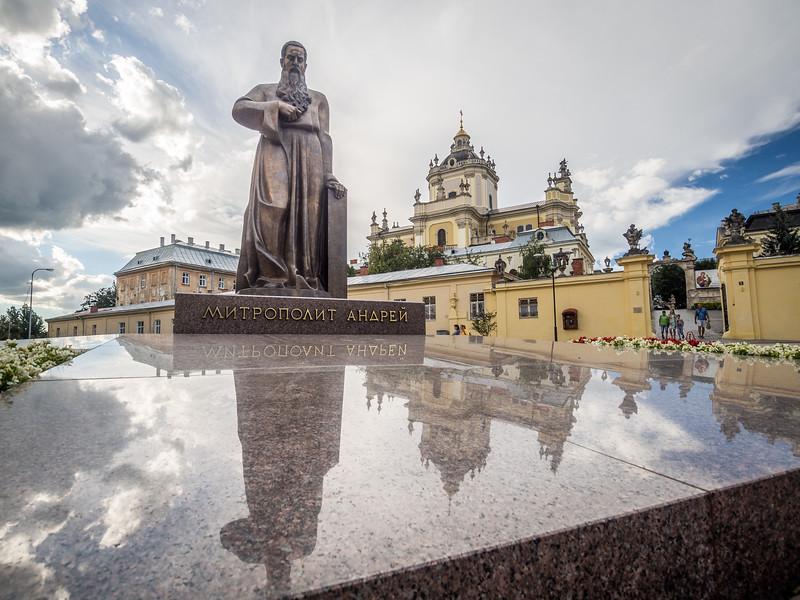 Mitropolit Andrei Statue and St George's Cathedral, Lviv, Ukraine