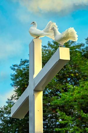 Fine Art cultuur foto van een wit kruis met twee witte duiven die uitkijken naar de horizon waar de liefde eeuwig is en verlies niet bestaat.
