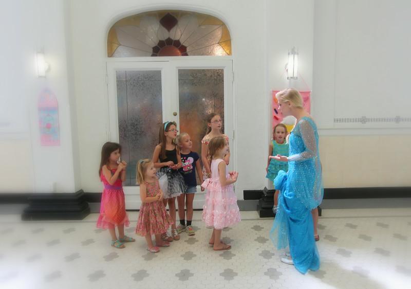 The party guests greet Elsa!