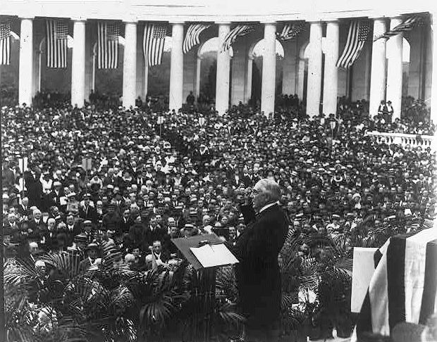 . Warren G. Harding making a Memorial Day address at Arlington National Cemetery. Between 1921 and 1923.  Courtesy the Library of Congress