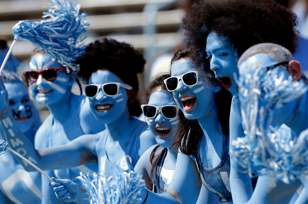 . North Carolina fans cheer prior to an NCAA college football game against Middle Tennessee in Chapel Hill, N.C., Saturday, Sept. 7, 2013. (AP Photo/Gerry Broome)