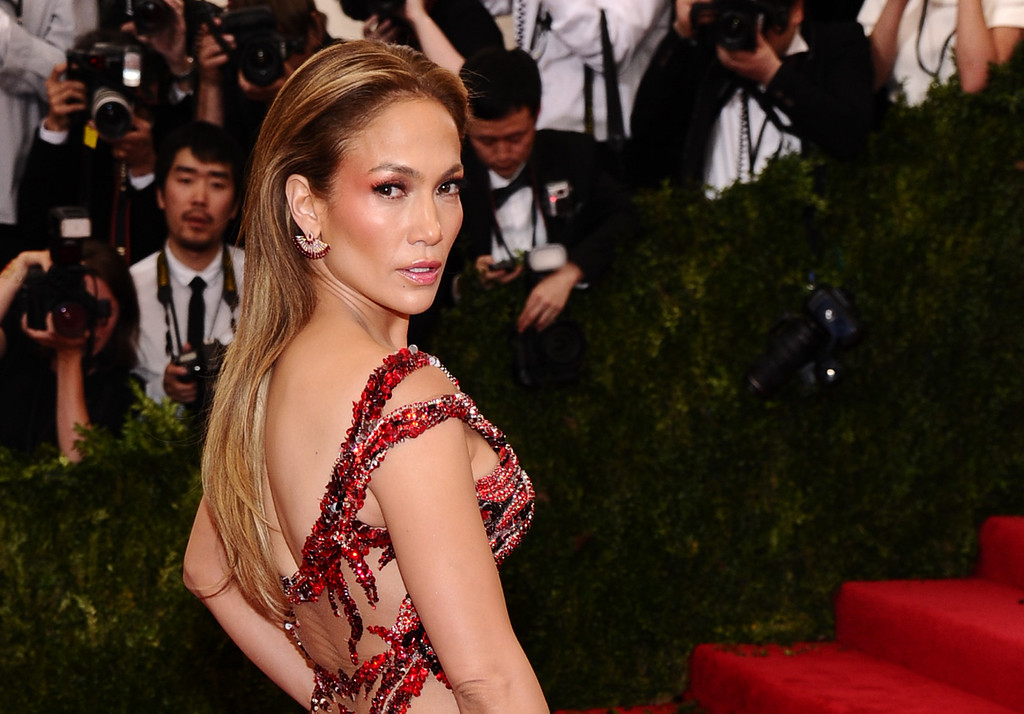 ". Jennifer Lopez arrives at The Metropolitan Museum of Art\'s Costume Institute benefit gala celebrating ""China: Through the Looking Glass\"" on Monday, May 4, 2015, in New York. (Photo by Charles Sykes/Invision/AP)"