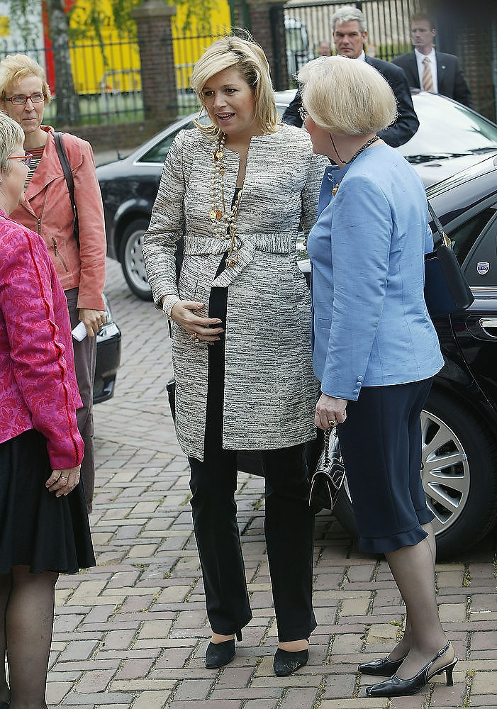 . Dutch Princess Maxima arrives at the King Willem I College to attend a ceremony in which the school received a No Racism Certificate on May 19, 2005 in Den Bosch, the Netherlands.  Princess Maxima is pregnant with her second child which is expected in June  (Photo by Michel Porro/Getty Images)