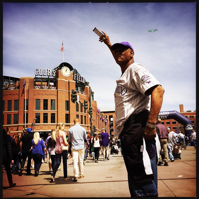 . Tickets! I gott\'em, you need\'em! #rockies #openingday � @shootsethshoot  Denver post photographer Seth McConnell covered the Colorado Rockies opening day, on April 8, 2016, using the photo app Hipstamatic and publishing on Instagram.