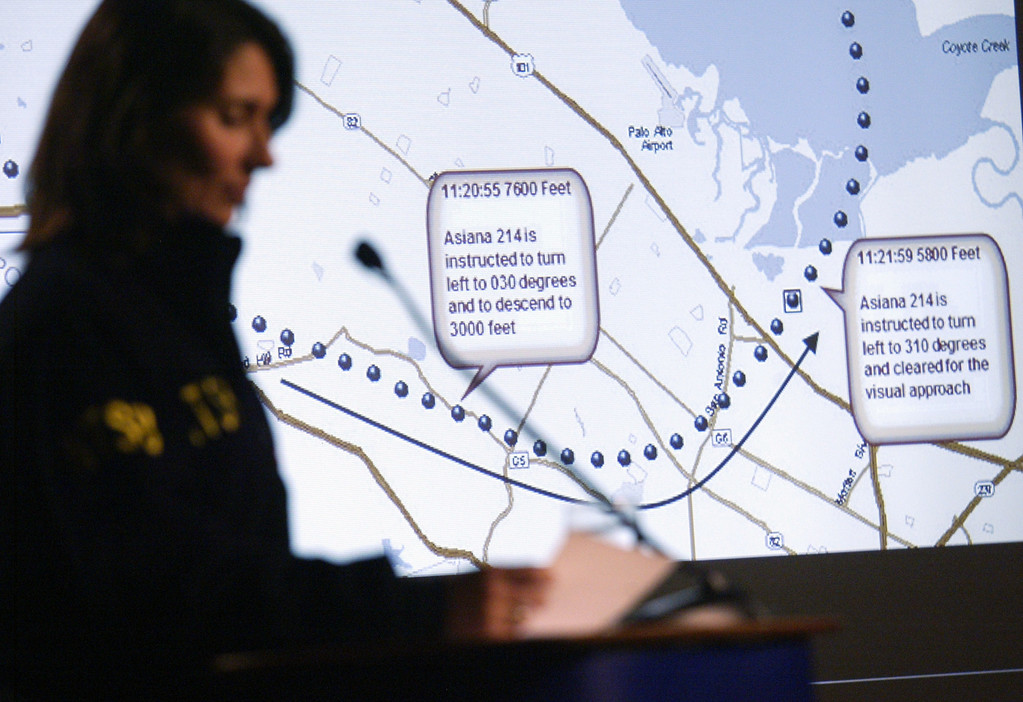 . National Transportation Safety Board Chairwoman Deborah Hersman conducts a briefing on the Asiana Airlines Flight 214 crash investigation as a slide of communications between the air traffic control tower and the flight crew is projected onto a screen, in South San Francisco, Calif., on Wednesday, July 10, 2013. The Boeing 777 plane operated by a Korean airline crashed as it was landing at SFO on Saturday, July 6, killing two and injuring close to 200 passengers. (Anda Chu/Bay Area News Group)