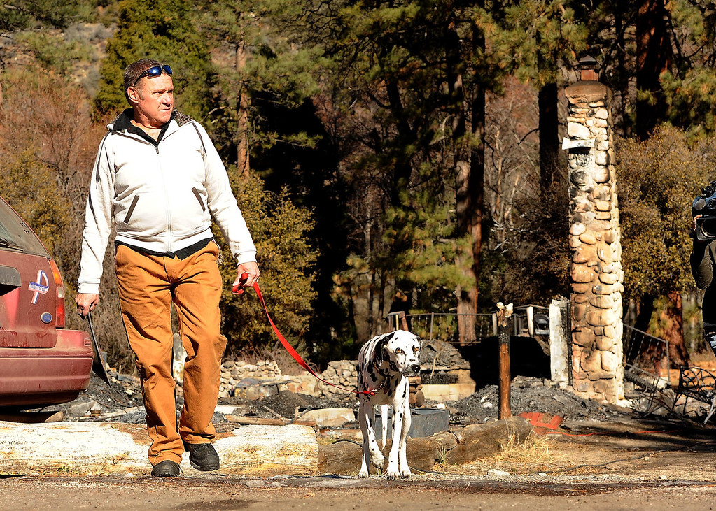". Rick Heltebrake, 61, of Angeles Oaks, walks with dog Suni, by the burned out cabin which is all that is left of fugitive Christopher Dorner\'s last stand in Seven Oaks February 15, 2013. Heltebrake\'s had his 2008 Dodge Ram truck carjacked by Dorner on Glass Road, prior to Dorner\'s last stand with police.  ""He said he wanted to get killed by cops,\"" said Heltebrake of Dorner. \"" He was right.\"" (Staff photo by Gabriel Luis Acosta/The Sun)"
