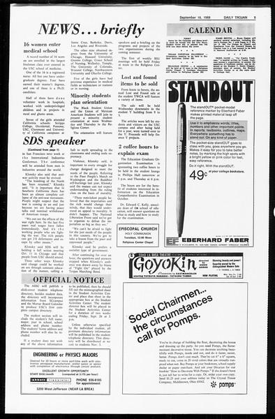 Daily Trojan, Vol. 61, No. 2, September 16, 1969