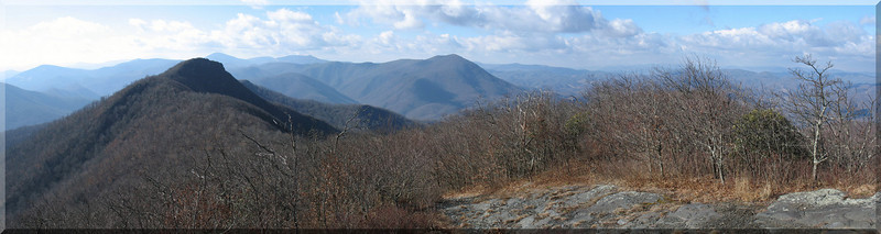 Looking west from the summit of Three Top. The Peak, highest point in Ashe County, is the summit almost dead center.