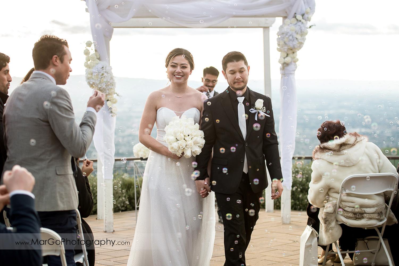 bride and groom walking down the aisle at Mt Hamilton GrandView Restaurant in San Jose