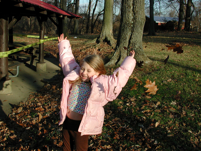 ...excercising with fall leaves!