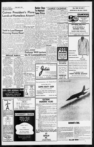 Daily Trojan, Vol. 55, No. 91, April 03, 1964