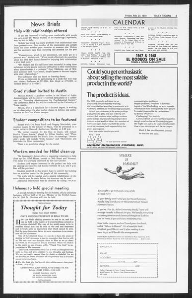 Daily Trojan, Vol. 61, No. 82, February 27, 1970