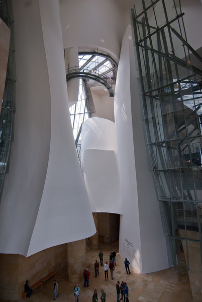 Architectural details inside Guggenheim Museum in Bilbao, Spain