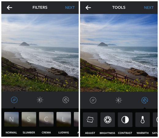 Editing photos with Instagram
