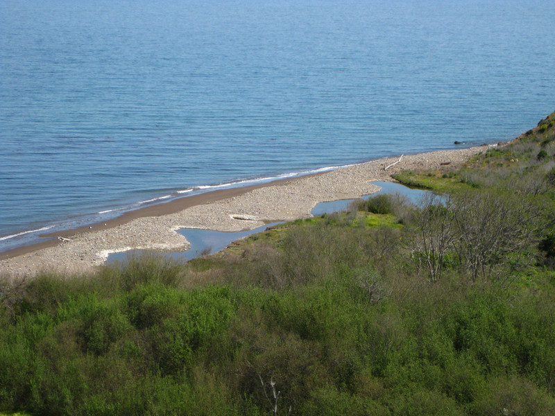 "Area where ""Central Valley"" creek is meeting the ocean"