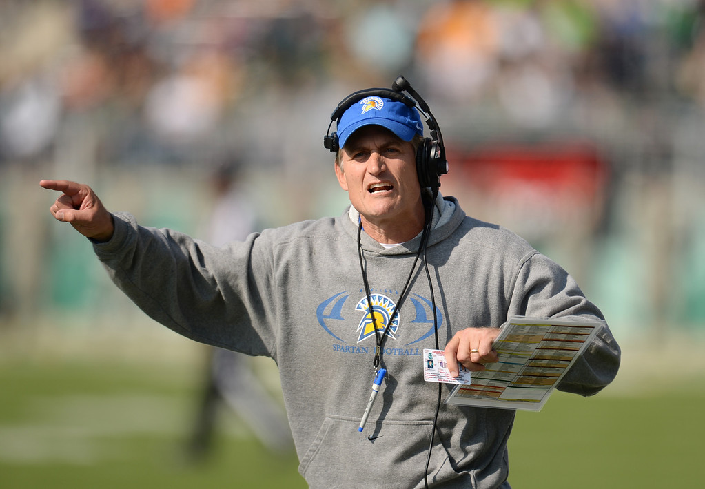 . FORT COLLINS, CO - OCTOBER 12 : Head coach Ron Caragher of San Jose State motions from the sideline during the game against Colorado State at Hughes Stadium. Fort Collins. Colorado. October 12, 2013. San Jose won 34-27. (Photo by Hyoung Chang/The Denver Post)