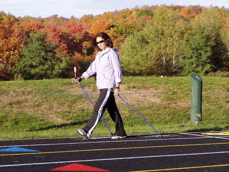 Nordic Walking Poles are equipped with removable rubber Nordic Walking Tips - ideal for indoor/outdoor tracks, pavement and other hard surfaces. The metal tips are perfect for trails, the beach, snow and ice
