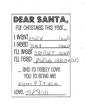 Mrs. Davis' kindergarten Letters to Santa, 12/10/2018