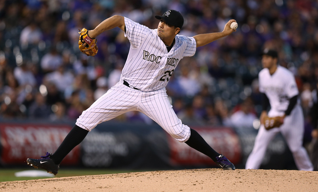 . Colorado Rockies starting pitcher Jorge De La Rosa works against the San Diego Padres in the fourth  inning of a baseball game in Denver on Saturday, Sept. 6, 2014. (AP Photo/David Zalubowski)