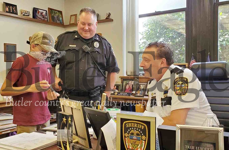 Danner Sweeney, 13, of Chicora was made an honorary sheriff's deputy on Tuesday by Judge S. Michael Yeager. Photo by Nathan Bottiger