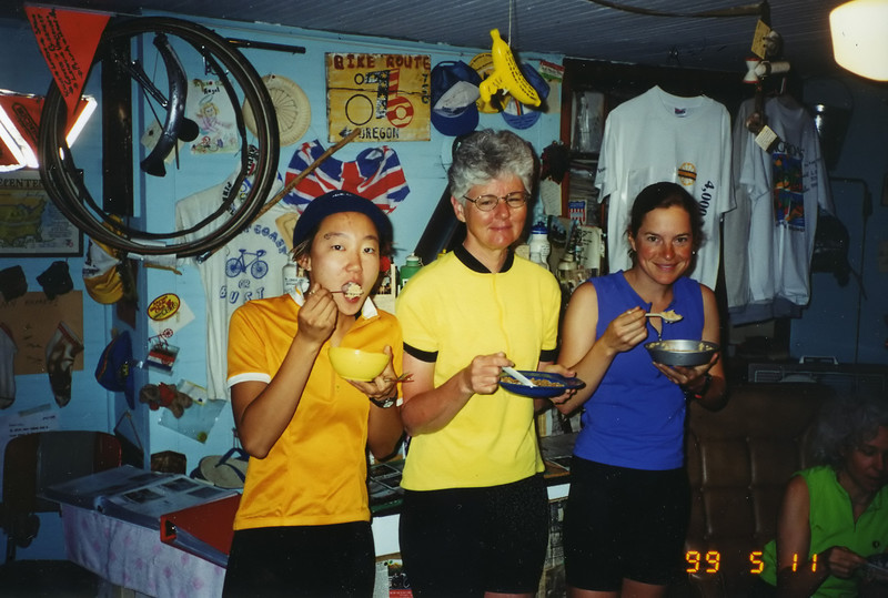 """June Curry, AKA """"The Cookie Lady."""" We stayed the night in """"the bike house."""""""