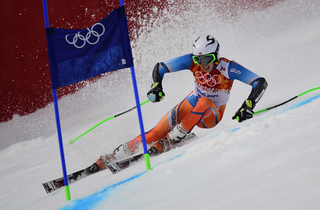 . Norway\'s Henrik Kristoffersen competes during the Men\'s Alpine Skiing Giant Slalom Run 1 at the Rosa Khutor Alpine Center during the Sochi Winter Olympics on February 19, 2014.   AFP PHOTO / FABRICE COFFRINI  /AFP/Getty Images