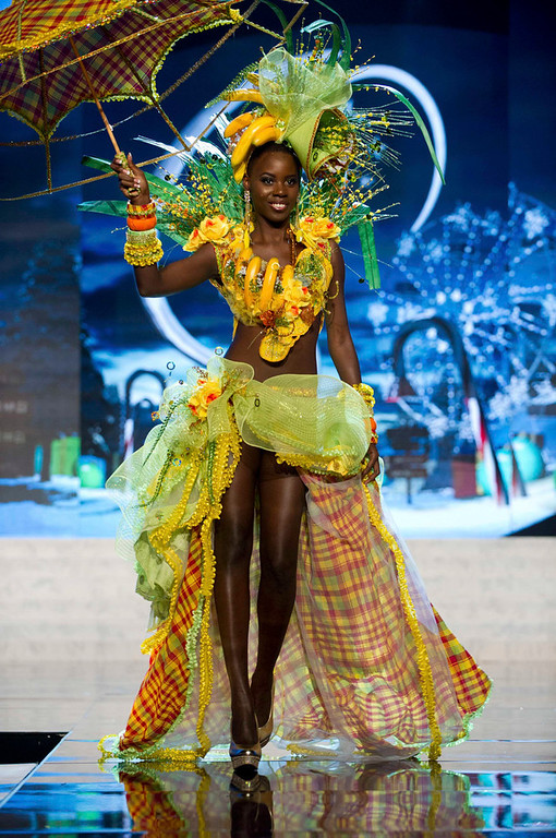 . Miss St. Lucia Tara Edward performs onstage at the 2012 Miss Universe National Costume Show at PH Live in Las Vegas, Nevada December 14, 2012. The 89 Miss Universe Contestants will compete for the Diamond Nexus Crown on December 19, 2012. REUTERS/Darren Decker/Miss Universe Organization/Handout