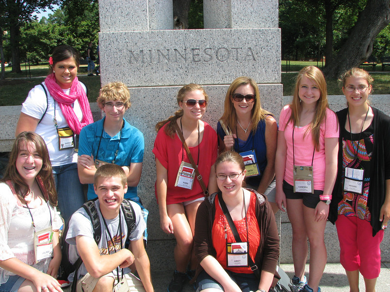 The Bethst group! Dist 1'ers at the WWII memorial: Sarina, Austin, Robin, Beth, Vanessa, Megan, LaLissa, Matt and Abby