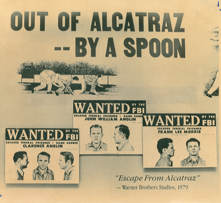 . Pictured in this display on Alcatraz Island is a depiction of the 1962 escape and wanted posters of Clarence Anglin, John Anglin, and Frank Morris. This was put out as Florida officials were combing the state in search of two of the escapees after a recent sighting of one of the men in 1990. (AP photo/Tribune archives)