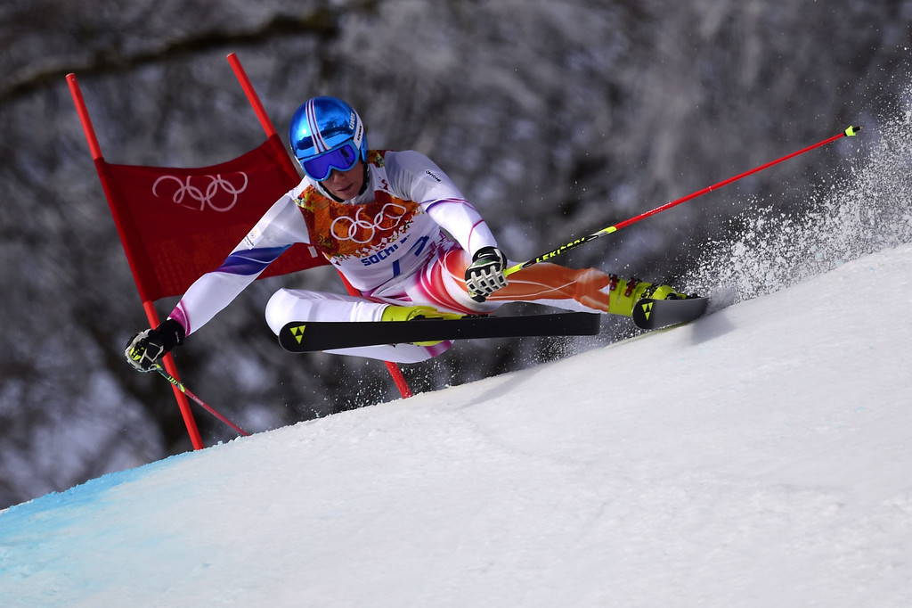 . Liechtenstein\'s Marco Pfiffner competes in the Men\'s Alpine Skiing Giant Slalom Run 1 at the Rosa Khutor Alpine Center during the Sochi Winter Olympics on February 19, 2014.  AFP PHOTO / OLIVIER MORIN/AFP/Getty Images