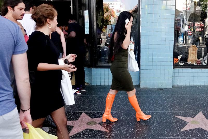Walking down Hollywood Blvd.