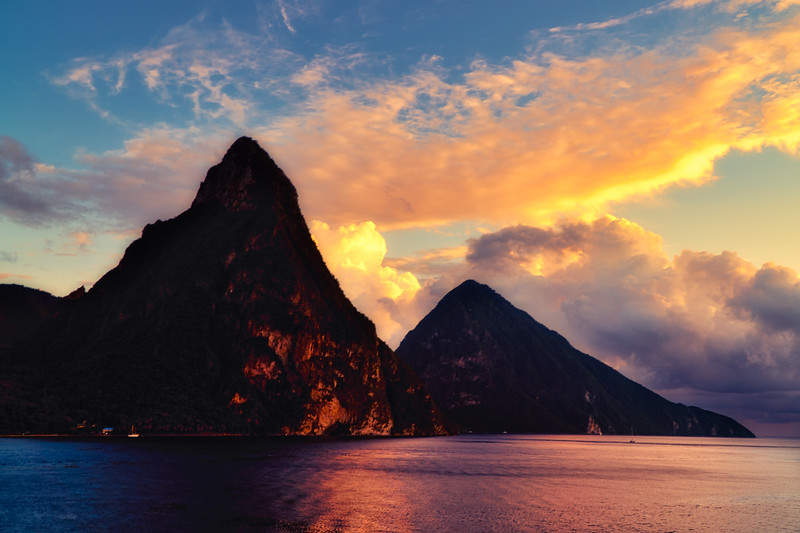 Sunset on the Pitons