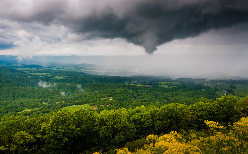 Funnel cloud and rainstorm over the Shenandoah Valley, seen from Skyline Drive in Shenandoah National Park, VA
