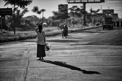 Woman Crossing Road