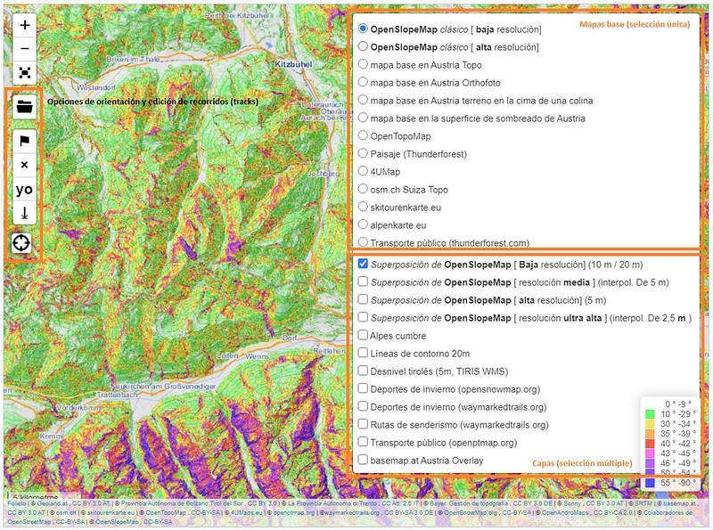 Mapas base y capas de OpenSlopeMap