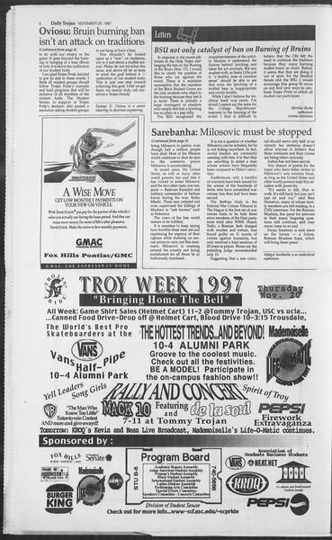 Daily Trojan, Vol. 132, No. 59, November 20, 1997