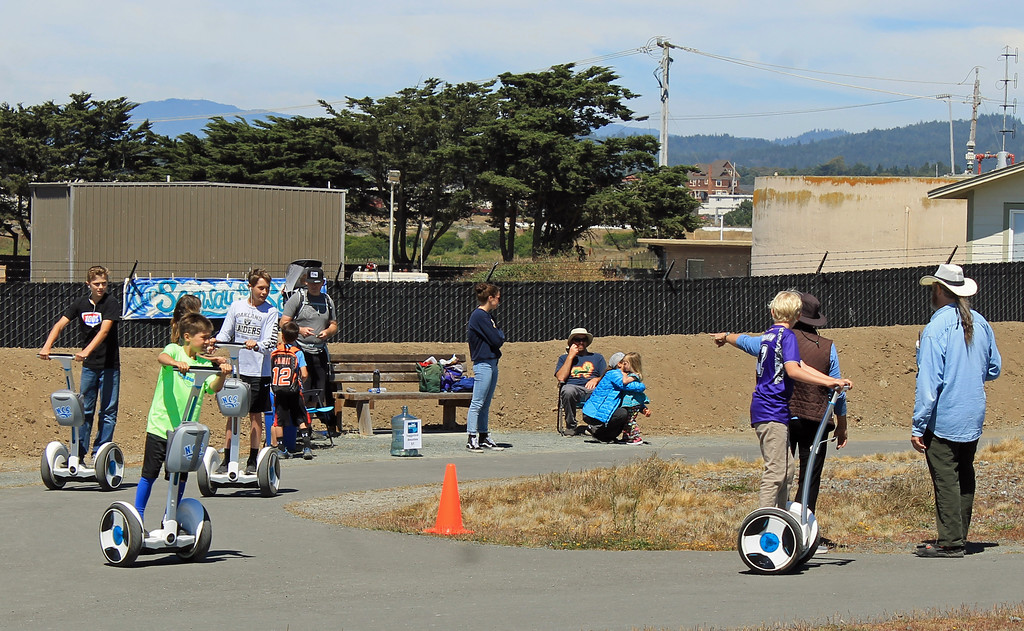 . Young Segway riders made the most of an impromptu track.