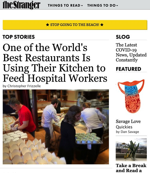 The Stranger: One of the World's Best Restaurants Is Using Their Kitchen to Feed Hospital Workers