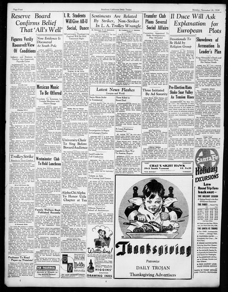 Daily Trojan, Vol. 26, No. 45, November 26, 1934