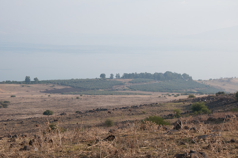 A view of the hill next to the Sea of Galilee in Israel believed to be the location of the Sermon on the Mount.
