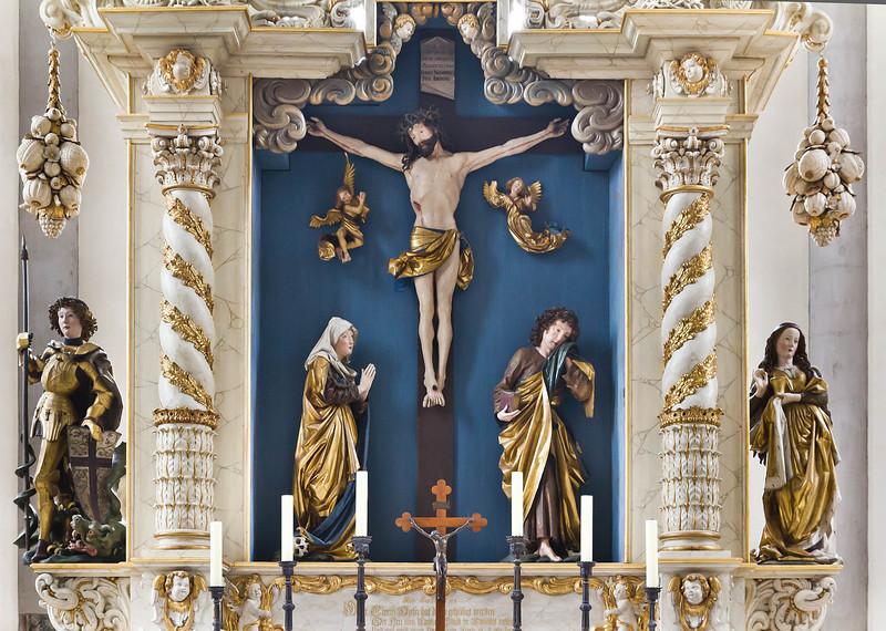 Nördlingen. St. Georg: Hochaltar (1683) mit Figuren von Nikolaus Gerhaert van Leyden (um 1460)